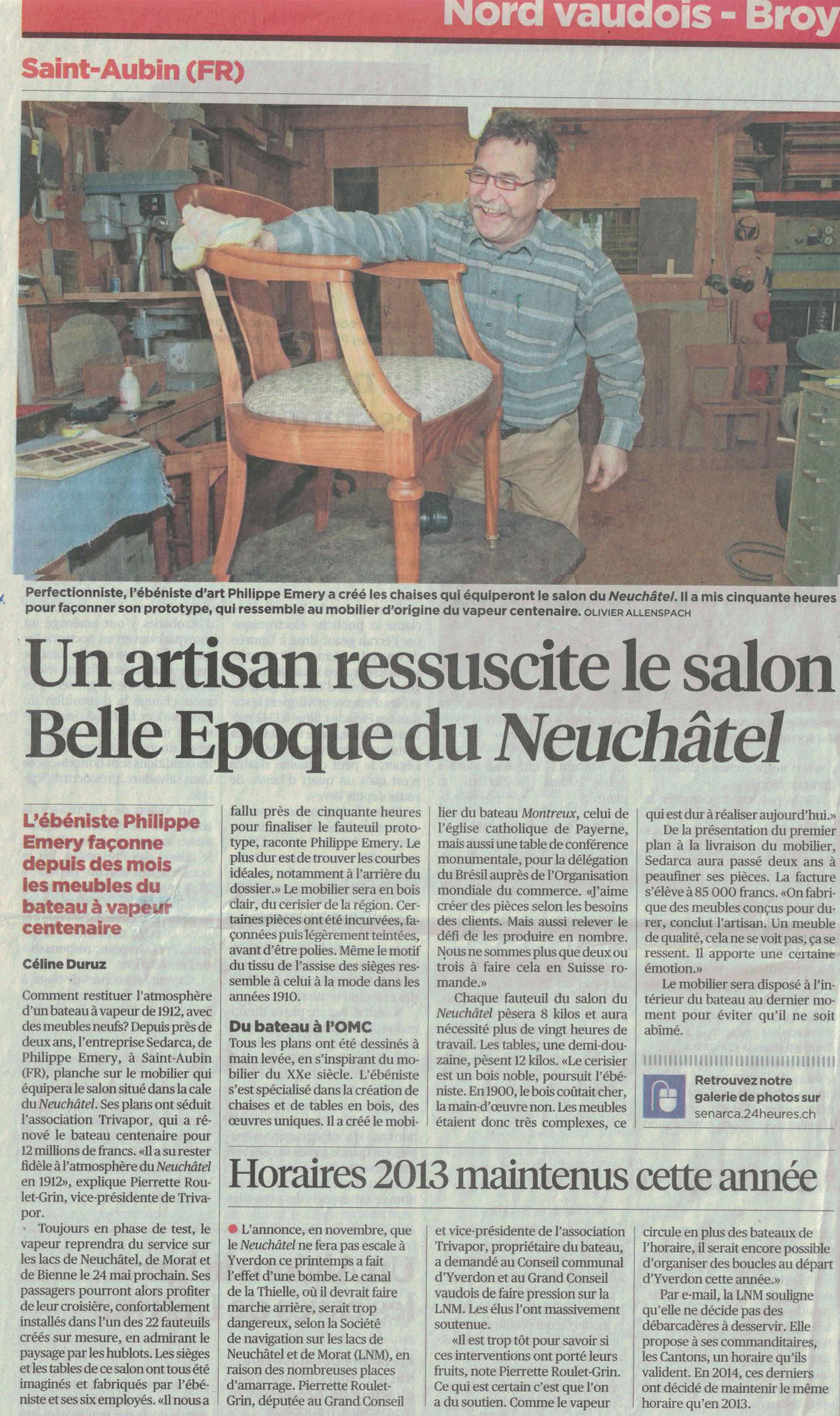 article du 1er janvier 2014 du journal 24 Heures