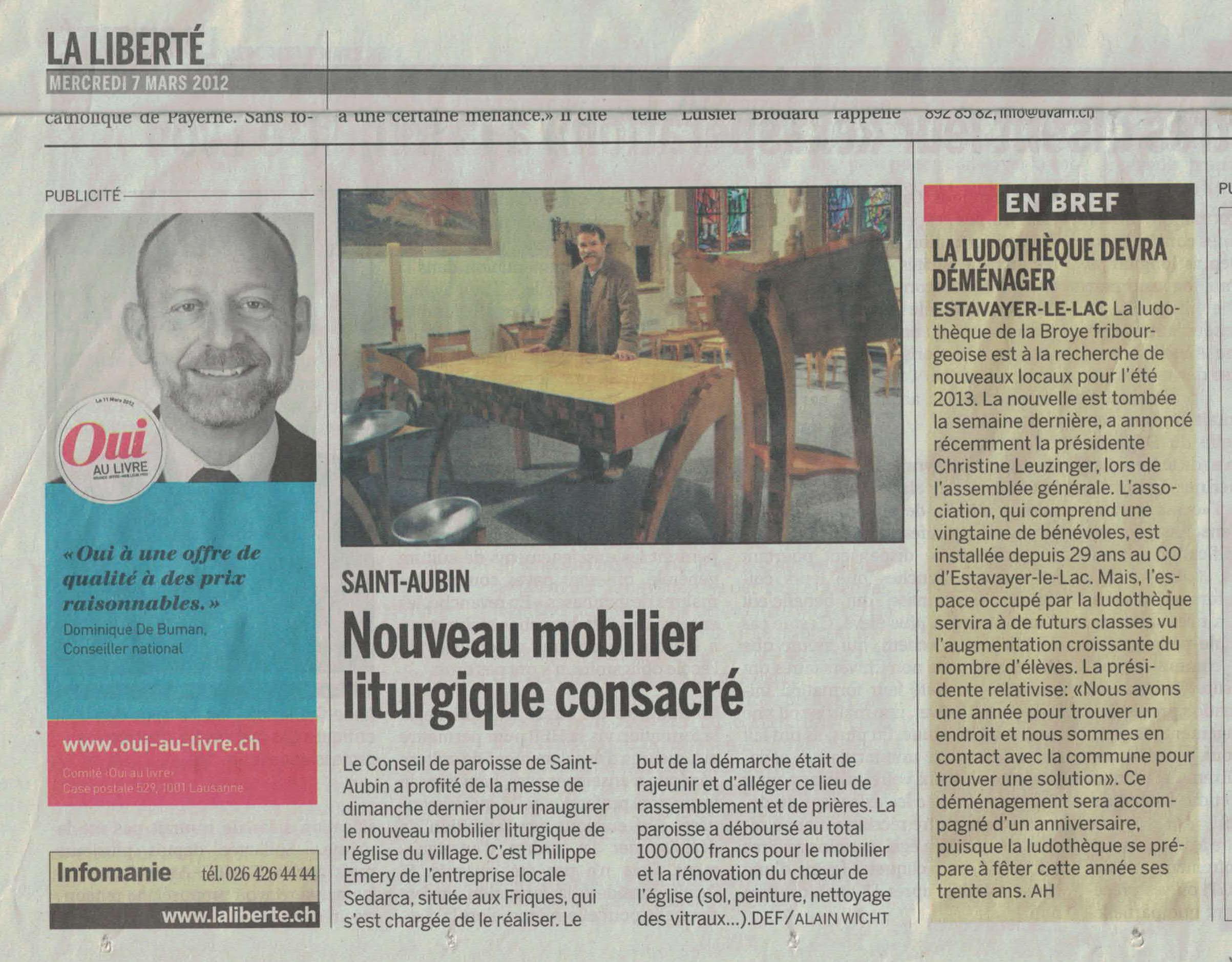 article du 3 mars 2012 du journal La Liberté